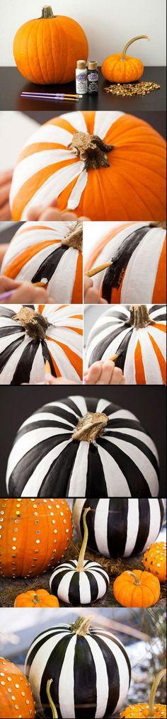 Black & White Striped Pumpkins.