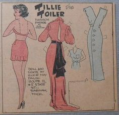 Tillie the Toiler with Uncut Paper Doll from 5/17/1936 Full Size Page!