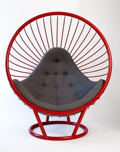 Powder coated Red steel wire bubble chair with grey cushion. Designed by Ben Rousseau. Made by Rousseau Design