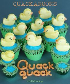 'Quackaroons and Pond' Cupcakes - she includes link to macaron recipe, duck template, and how she did it - very cute!