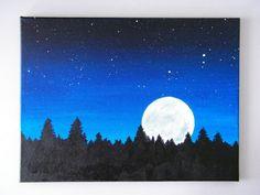 Items similar to Night Sky Acrylic Painting On Canvas on Etsy Easy Canvas Painting, Diy Canvas Art, Easy Paintings, Diy Painting, Painting & Drawing, Watercolor Paintings, Acrylic Canvas, Night Sky Painting, Painting Inspiration