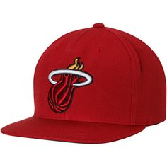 Miami Heat Mitchell & Ness Current Logo Wool Solid Adjustable Snapback Hat - Red