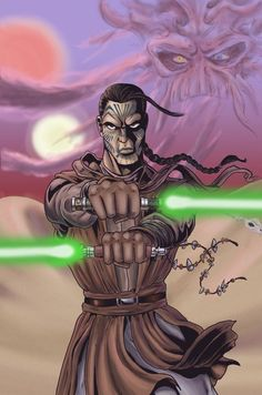 A'Sharad Hett - A Jedi Master whose father was Sharad Hett another famous Jedi Master. After A'Sharad's father passed away with his native people (Sand People) he inherited his fathers lightsaber and now uses both his and his fathers.