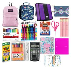 School Supplies 2017 by ginseygrace on Polyvore featuring polyvore, fashion, style, JanSport, Boohoo, Sharpie, Case·it, Stabilo, Lilly Pulitzer, Vera Bradley, Elmer's and clothing