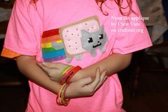 Nyan Cat Applique Shirt for 'Neon' Day at School - CLOTHING