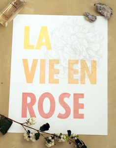 la vie en rose letterpress print