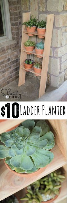 LOVE this DIY Ladder Planter... So cheap and easy! Free plans too! www.shanty-2-chic...