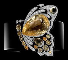 Cartier - Bracelet Papillon amovible - Or blanc et Or jaune, Diamants, Saphirs jaune et Laque noire
