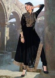 Party Wear Georgette Black Embroidered Work Anarkali Suit