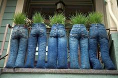 :) Old jeans recycled into funny planters (projects, crafts, DIY, do it yourself, interior design, home decor, fun, creative, uses, use, ideas, inspiration, 3R's, reduce, reuse, recycle, used, upcycle, repurpose, handmade, homemade, pots, garden)