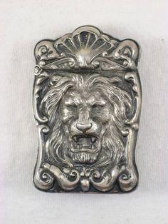 Antique Sterling Silver Lion Detailed High Relief Match Safe Vesta Circa 1900 #Unknown