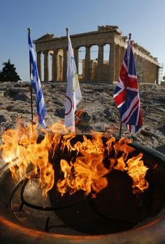 Olympic flame cauldron on top of Acropolis with British flag Go Greek, Greek Man, Beautiful Islands, Beautiful World, Acropolis, Parthenon, Olympic Flame, Athens City, Classical Greece