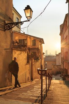 Vieux Lyon - Enjoying a spring sunrise in a narrow alley in Vieux Lyon, the old town of Lyon.