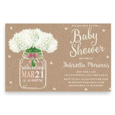 40 best cheap baby shower invitation images on pinterest beautiful burlap baby shower invitation with mason jar and flowersfloral baby shower invitation mason filmwisefo