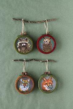 """ROUND PAPER AND GLASS ORNAMENT W/ ANIMALS, 4 STYLES, 4"""", EACH"""