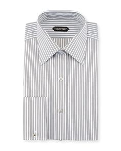 Tom Ford Striped French Cuff Dress Shirt, Black/White