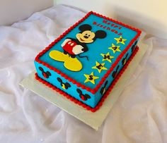 https://flic.kr/p/xZo5Kn | Mickey Mouse themed sheet birthday cake with hand cut fondant topper | Design was brought in by client.