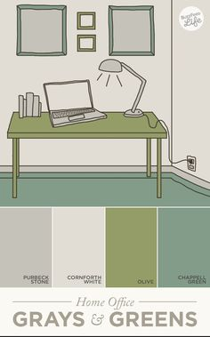 In a home office, greens and grays foster creative and financial prosperity. | How Paint Colors Can Actually Change Your Life