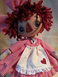 Handmade Primitive Raggedy Ann Annie Doll Red White Check Cotton Gingham Dress