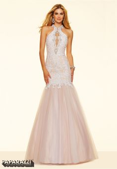 Prom dresses by Paparazzi Prom Lace and Tulle with Beading Zipper Back Closure. Colors Available: Red/Nude, Black/Nude, White/Nude