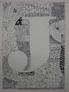 Miss Young's Art Room: 5th Grade Zentangles initial (name art)
