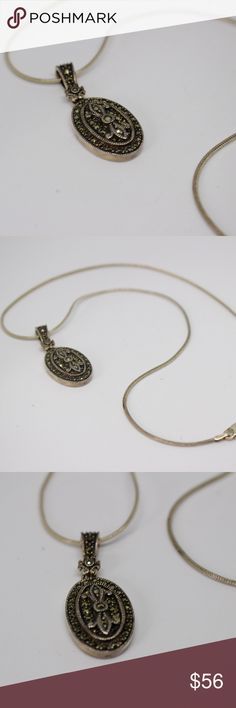 """🆕925 Sterling Marcasite Oval Pendant Necklace 🔹True vintage marcasite oval pendant set in 925 sterling silver with a sterling silver chain.🔹Marked with a diamond stamp with JJ inside and a circle, also marked sterling.🔹9.7 grams.🔹18"""".🔹No trades/off-Posh transactions.🔹Reasonable offers welcome! Vintage Jewelry Necklaces"""