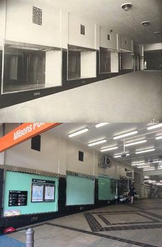Shops at the entrance to  Milsons Point Station 1932 > 2016. [State Records NSW > Phil Harvey. By Phil Harvey]