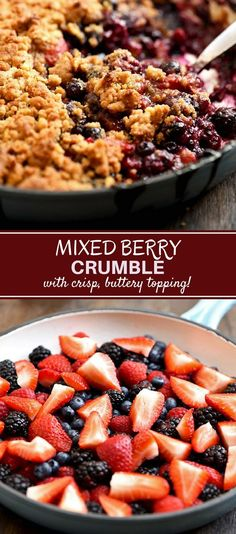 Mixed Berry Crumble – Onion Rings & Things Mixed Berry Crumble is the best way to enjoy Summer berries! Perfectly sweet and tart with a buttery, crispy crumble, top with ice cream or whipped cream for a fabulous dessert! Apple And Berry Crumble, Fruit Crumble, Pie Crumble, Crumble Topping, Mixed Berry Crumble Recipe, Mixed Berry Cobbler, Köstliche Desserts, Healthy Dessert Recipes, Gratin