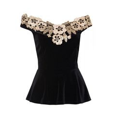 Quiz Black velvet bardot peplum top ($36) ❤ liked on Polyvore featuring tops, embroidered top, peplum tops, velvet peplum top, velvet top and night out tops