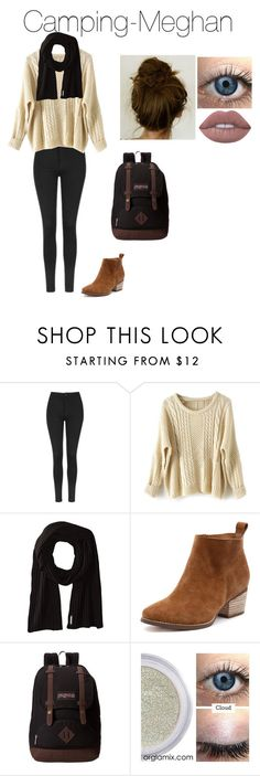 """Meghan Holt (Wattpad)"" by jadenblanche02 ❤ liked on Polyvore featuring Topshop, Soia & Kyo, JanSport and Lime Crime"