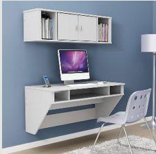 Prepac    Designer Floating Desk and Hutch In Fresh White at wayfair.com $194.86 for the desk
