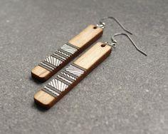 Lines Earrings, Wood Earrings, Laser Cut Earrings, Wooden Jewelry, Modern Earrings, Geometric Earrings, Gift for Girlfriend, Gifts Under 50