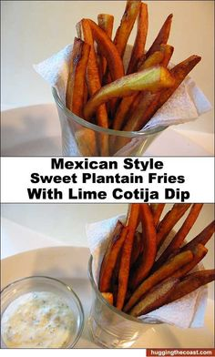 Mexican-Style Sweet Plantain Fries w Lime Cotija Cheese Dip