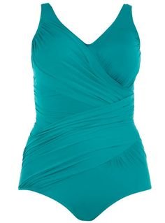 I love the color, I love the cut in this curvy flattering swimsuit!