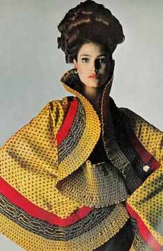 Benedetta Barzini in colored silk shawl by Mr. John, photo by Bert Stern for Vogue, 1965