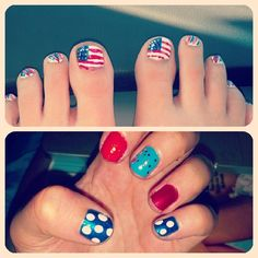 My fourth of july toes and nails