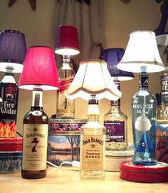 Liquor bottles can be repurposed too! Dad can enjoy his after-dinner drink in the glow cast from a lamp made from a bottle of his fave liquor.