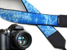 Map camera strap. World map shoulder camera straps. Blue and white camera strap DSLR & SLR. Camera accessories. Handmade crafts.