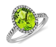 Peridot and Diamond Ring in 18k White Gold (10x8mm) #bluenile