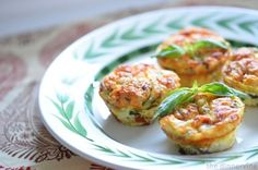Light Italian Frittatas by dinnervine: Made with egg whites, sun-dried tomato, zucchini, and feta.