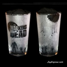 Description The Walking Dead theme engraved glass. This glass engraving was done by hand using a dremel and micromotor and took around 24 hours to complete. The gallery of JayEngrave Glass Engraving, Hand Engraving, The Walking Dead Theme, Pint Glass, Tableware, Gallery, Dinnerware, Roof Rack, Beer Glassware