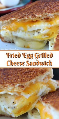 Fried Egg Grilled Cheese Sandwich is a delicious breakfast sandwich with fried eggs, two type of cheese and then grilled to a golden brown. recipes for breakfast Fried Egg Grilled Cheese Sandwich - Great Grub, Delicious Treats Breakfast Party, Breakfast Dishes, Breakfast Recipes With Eggs, Yummy Breakfast Ideas, Breakfast Casserole, Breakfast Burger, Breakfast Sandwich Recipes, Delicious Breakfast Recipes, Meals With Eggs