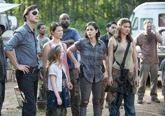 The Governor (David Morrissey), Meghan Chambler (Meyrick Murphy), Lilly Chambler (Audrey Marie Anderson), Tara Chambler (Allana Masterson) and Alisha (Juliana Harkavay) and in Episode 7 of The Walking Dead