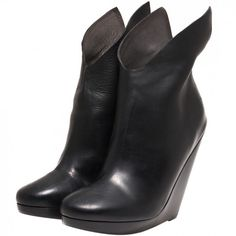 Black Winged Wedge Ankle Boots  Marsèll