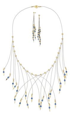Jewelry Design - Bib-Style Necklace and Earring Set with Gold-Plated Brass Beads and Crimp Covers, Czech Fire-Polished Glass Beads and Accu-Flex® Beading Wire - Fire Mountain Gems and Beads