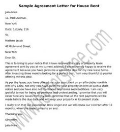 Agreement Letter For House Rent Sample With Images Lettering