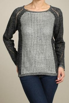 Grey sweater with contrast sleeves, rounded neckline, and a high-low hem.   High-Low Sweater by Rhapsody. Clothing - Sweaters - Crew & Scoop Neck Washington