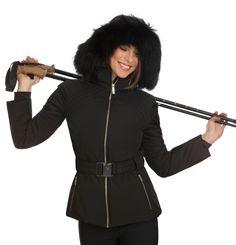 Fusalp Naja Fur black stretch ladies ski jacket with fur trimmed hood. Women's black fur ski jacket with belt. Black Ski Jacket, Ski Wear, Fur Trim, Skiing, Lady, How To Wear, Ski Jackets, Collection, Winter 2017