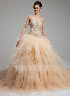 Ball-Gown Sweetheart Cathedral Train Satin Tulle Wedding Dress With Ruffle Lace Beading (002012565)
