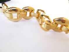 """Vintage Designer Signed JOAN RIVERS Gold Tone Massive Gold Statement 7.5"""" Long Bracelet 108.8grams"""